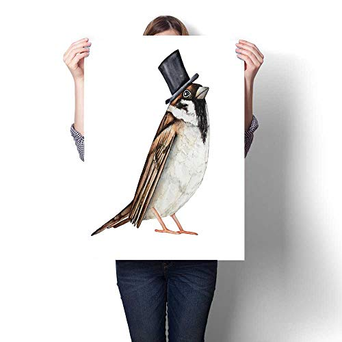 Canvas Wall Art for Bedroom Home Decorations Sparrow bird dressed in black top hat Invitation card ticket design poster label badge decoration greeting element character for Home Decoration No Frame