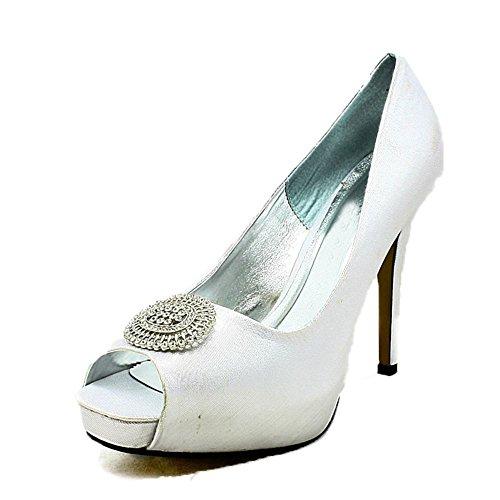 Satén de las señoras zapatos de la boda del dedo del pie del pío plataforma oculta con gran broche Silver