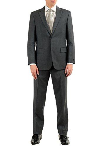 (Hugo Boss Paolini1/Movlo1US Men's Dark Gray 100% Wool Two Button Suit SZ US 40R IT 50R)