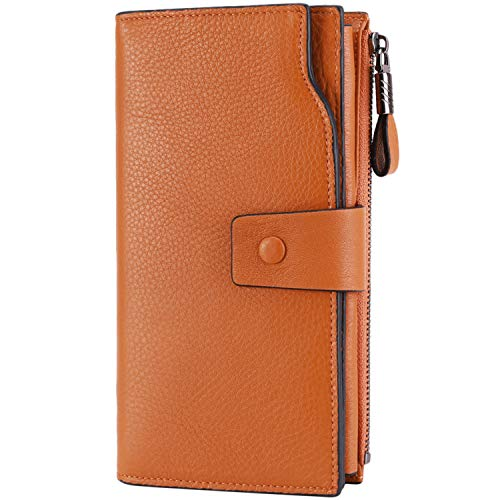 (Itslife Women's RFID Blocking Large Capacity Luxury Wax Genuine Leather Clutch Wallet Card Holder Organizer Ladies Purse (S Orange) )