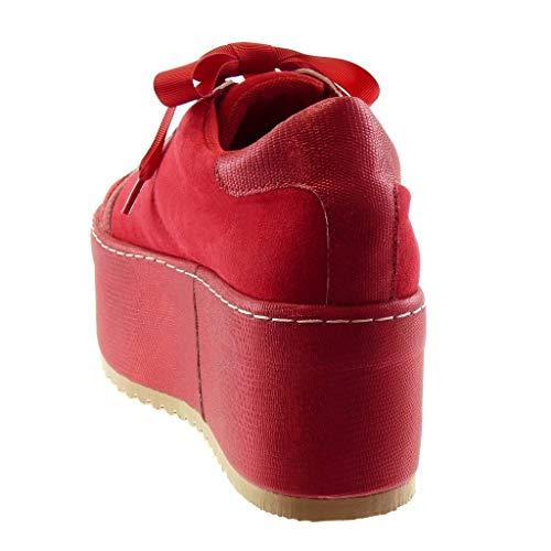 Sneaker high Damen 7 Sporty cm Heel Rot Trendy Plateauschuhe chic Angkorly Strass Schuhe Keilabsatz Trendig Krokodil qp1BxnH