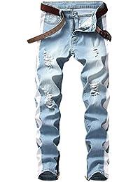 Men's Slim Fit Jeans Stretch Destroyed Ripped Skinny Side Striped Ankle Zipper Denim Pencil Pants