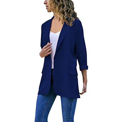(Sunward Women's Business Casual Solid Pockets Open Front Blazer Suit Cardigan (S, Blue))