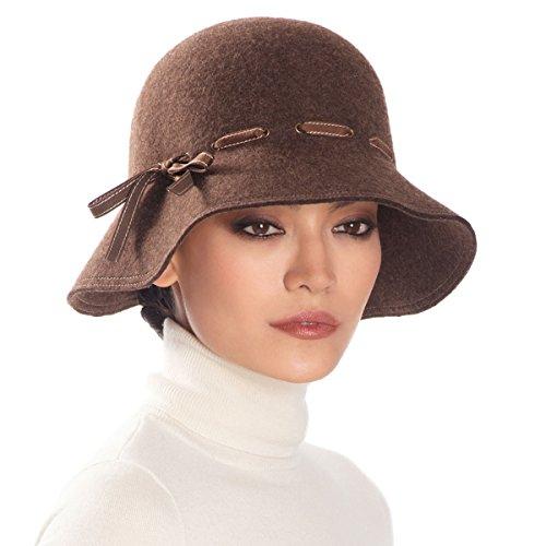 Eric Javits Luxury Fashion Designer Women's Headwear Hat - Wool Alixe - Brown Mix by Eric Javits