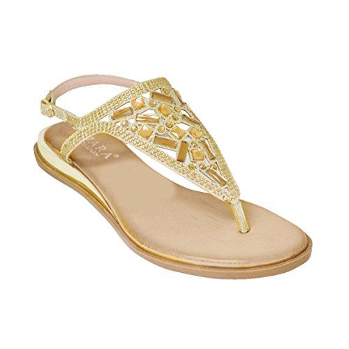 Neue Damen Damen Sommer Zehenspitze Diamante Slingback Sandale Gold
