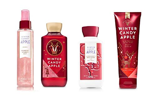 - 4 Piece Bath & Body Works Holiday Traditions Winter Candy Apple Deluxe Fragrance Gift Set- Fragrance Mist, Body Lotion, Shower Gel & Body Cream (Winter Candy Apple)