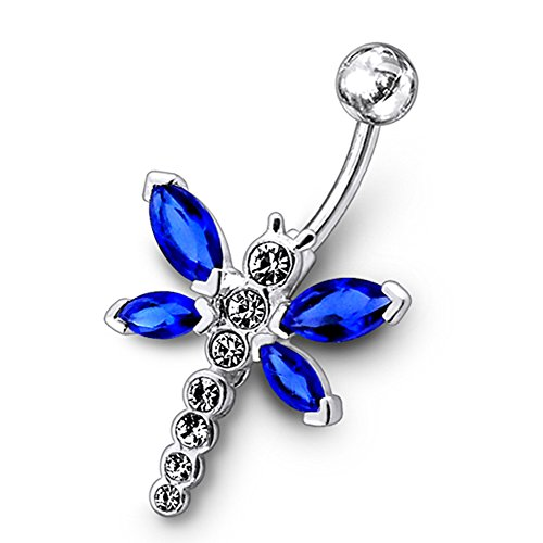 AtoZ Piercing Dark Blue Crystal Stone Fancy Butterfly Dangling 925 Sterling Silver with Stainless Steel Belly Button Rings