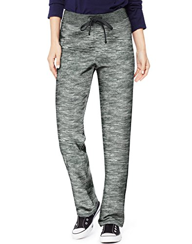 Hanes Women's French Terry Pant, Black Space Dye, Large by Hanes