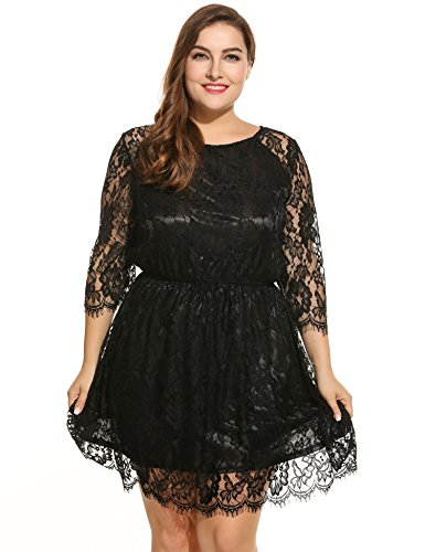 Meaneor Plus Size Women's See Through 3/4 Sleeve Twin Set Floral Lace Party Dresses (3X Plus, Black)