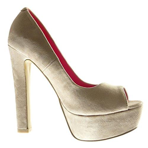 Stiletto Bloc 13 Femme Mode Escarpin Chaussure Haut 5 Angkorly Beige Plateforme Decolleté cm Talon tZA1awq