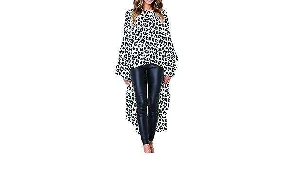 Camiseta De Mujer Tops Estampado De Leopardo Irregular Dobladillo Blusa  Casual Suelto Blanco S  Amazon.es  Ropa y accesorios b94bb30a8fa