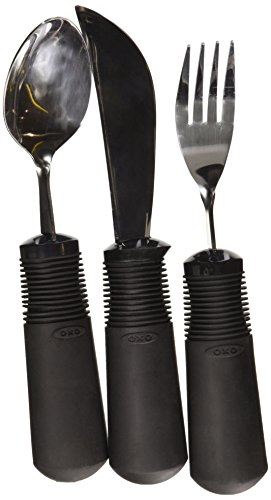 - OXO Easy Grip Flatware Set (1 Knife, 1 Spoon, 1 Fork) - Non Weighted
