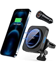 ESR HaloLock Magnetic Wireless Car Charger, Compatible with MagSafe Fast Car Charger, Air Vent Mount Compatible with iPhone 12/12 Pro/12 mini/12 Pro Max, with 36W QC 3.0 Car Charger
