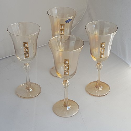 Set Of Four (4) Franco srl Vetrerie e Cristallerie Italy Cut To Clear Topaz Wine Toast Glasses / Goblets (Topaz Cut Glass)