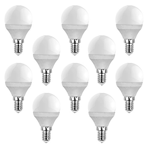 V-TAC set of 10, E14, P45, 4W warm white 2700K watts, 230 volts, 320 lm, 180 ° beam angle, equivalent 30W