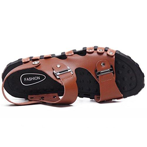 Spiaggia Estate Marrone Uomo Mallimoda Infradito Casual 1 Stile Sandal Scarpe Pelle wgXwv5q