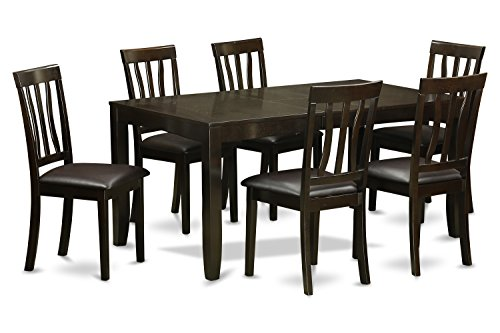 East West Furniture LYAN7-CAP-LC 7-Piece Dining Room Table Set, Cappuccino Finish Review