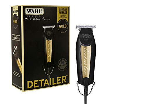 Wahl Professional 5-Star Series Limited Edition Black & Gold Detailer #8081-1100 - With T-Blade, 3 Trimming Guides (1/16 inch - 1/4 inch), Blade Guard, Oil, Cleaning Brush and Instructions