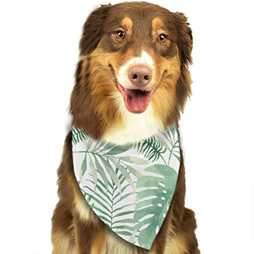 ROCKSKY Pet Dog Bandana Triangle Bibs Scarf Mauritius Green Leaves Hankie Kerchief for Pet Cats and Baby Puppies - Wedding Dog Bandana Great Dog Gift Idea