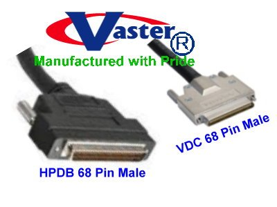 SuperEcable - 20367 - 10 Ft - SCSI-5 (VHDCI) 0.8mm Male to SCSI-3 (HPDB68) 68-Pin Male Cable by Vaster