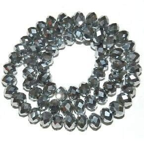 CR239 Silver Metallic 6mm Rondelle Faceted Cut Crystal Glass Beads 16