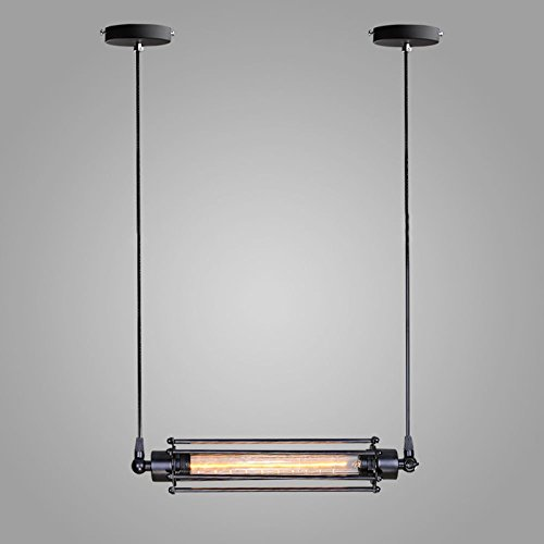 (WINSOON Industrial Edison Ceiling Pendant 1pc Light Style Bar Loft Metal Flute Cage Art Painted)