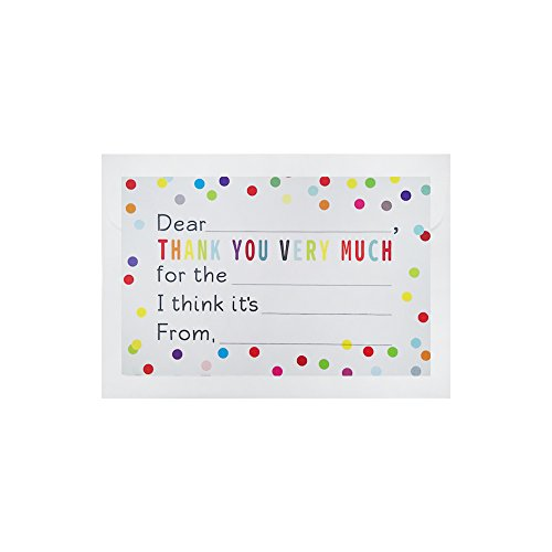 36 PCS Fill in the Blank Thank You Notes Confetti Polka Dot Flat Cards with White (Girl Flat Note)