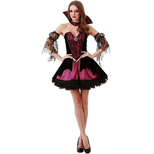 Adult Transylvania Vampire Costumes (Voluptuous Vampire Women's Halloween Costume Victorian Gothic Countess Dracula, Red, Medium)