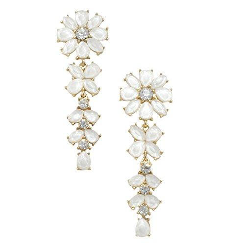 Opaque White Crystal Floral Cascade Drop Dangle Earrings