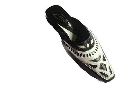 ZACCHO - Sandalias de vestir de Piel para mujer blanco blanco/negro, color blanco, talla 37 EU