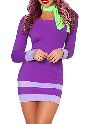 Womens Holloween Scooby-Doo Daphne Long Sleeve Adult Costume Sexy Bodycon Cosplay Mini Dress Purple -