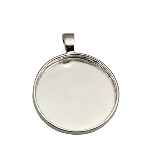 (Round Bezel Pendant Setting Sterling Silver Cabochon Base 25 mm Round Bezel Tray DIY Jewelry (Silver Plated))