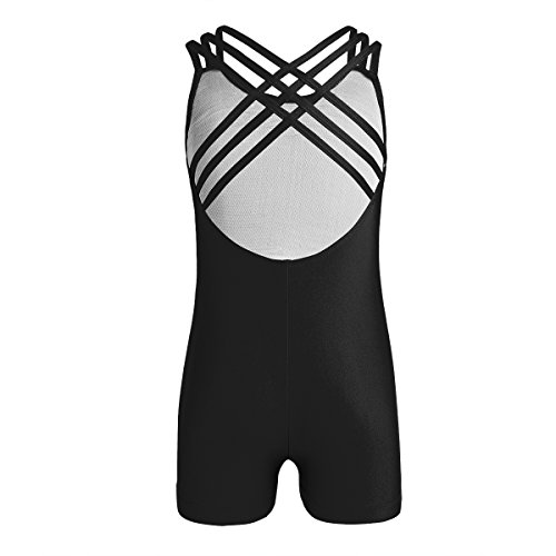 Unitard Dancewear (CHICTRY Girl's Children's Solid-color Sleeveless Unitard Strappy Back Gymnastics Athletic Dance Bodysuit Clothes Black 11-12)