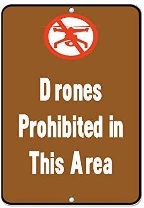 Vintage Reproduction Sign,12x16,Drones Prohibited in This Area Activity Sign Safety Warning Business Signs Commercial Metal Sign Metal Aluminum