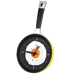 Puyujin Creative wall clock, Flat Bottom Pot Omelettes Clock Bar Decor Personality Pocket Watch Wall Clock (Yellow)