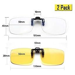 Cyxus (2 Pack) Blue Light Filter Clip-on Computer Reading Glasses, UV Blocking Anti Eye Strain Unisex Eyewear 1 Transparent Lens and 1 Yellow Lens Set