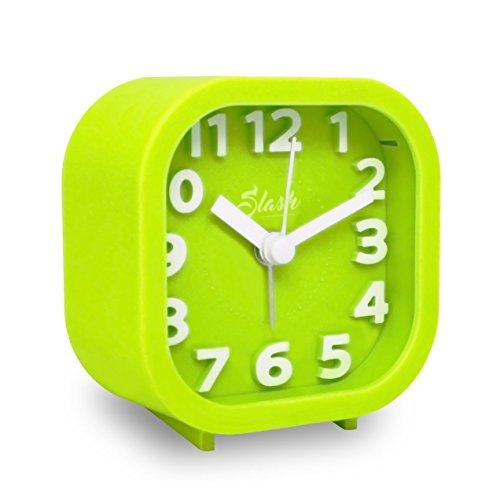 Slash 3D Digital Creative Silent Desk Alarm Clock Simple Candy Color for Sitting Room, Bedroom, Office (Green) S10011