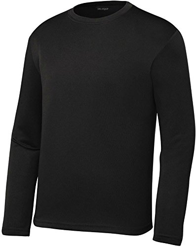DRI-EQUIP Youth Long Sleeve Moisture Wicking Athletic Shirts. Youth Sizes XS-XL, Black, (Flannel Kids Shorts)