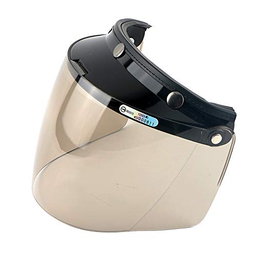 - Wancar Retro Universal Standard 3-Snap Open Face Motorcycle Helmets Flip Up Face Visor Wind Shield Lens(Light Smoke)