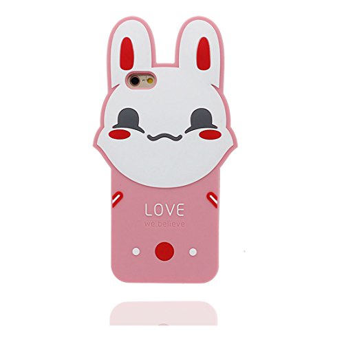 "iPhone 6 (4.7"") Coque, [ TPU Material Flexible rose lapin ] Fashion Étui pour iPhone 6S (4.7""), Dust Slip Scratch Resistant, Case souple durable flexible et Bouchon anti-poussiè"