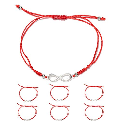 6 Pieces Infinity Charm Handmade Kabbalah Red String Bracelets for Women and Men, Adjustable Braided Thread Friendship Jewelry, Gift for Kids (Infinity -2) ()