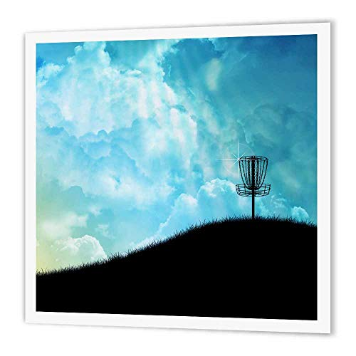 3dRose Basket on a Hill Silhouette of a Frisbee Disc Golf Basket with Chain on Colorful Hill Iron on Heat Transfer for White Material, 10 by 10