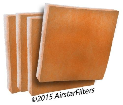 """Orange/White Tackified MERV 8 Replacement Air Filter Media Pad Inserts - 21"""" x 22"""" x 1"""" ( Pack of 4 )"""