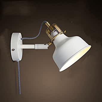 QIMLIGHT Modern Plug in Wall Lamp White Wrought Iron