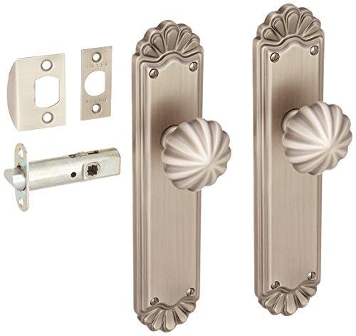 Trenton Door Set With Fluted Brass Knobs Passage In Antique Pewter. Interior Door Sets. (Brass Tall Knob)