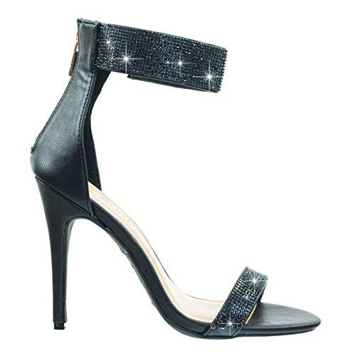Sandalo Da Danza Con Tacco Alto Con Strass Cristallo E Cinturino Alla Caviglia Nero