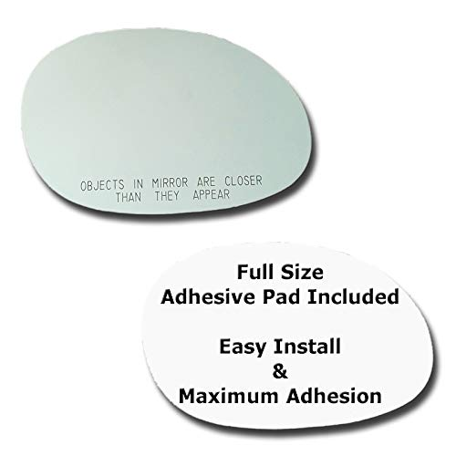 (Mirror Glass + Full Size Adhesive Pad for 2004-2010 Chrysler PT Cruiser Passenger Side Replacement)