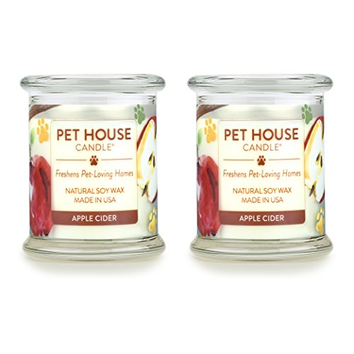 One Fur All - 100% Natural Soy Wax Candle - Pet Odor Eliminator, Up to 60 Hours Burn Time, Non-Toxic, Eco-Friendly Reusable Glass Jar Scented Candles – Apple Cider - Pack of 2 ()