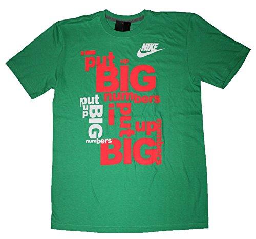 Nike Mens Big Numbers T-Shirt Large Gamma Green Crimson Mango Gamma Green