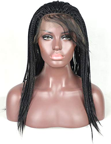 BLUPLE Yaki Micro Braided 1b Synthetic Lace Front Wigs Fully Hand Tied Heat Resistant Hair Braiding Styles Fiber Hand Braided Wig for Black Women (18 inches, Yaki Micro Braided,#1B)